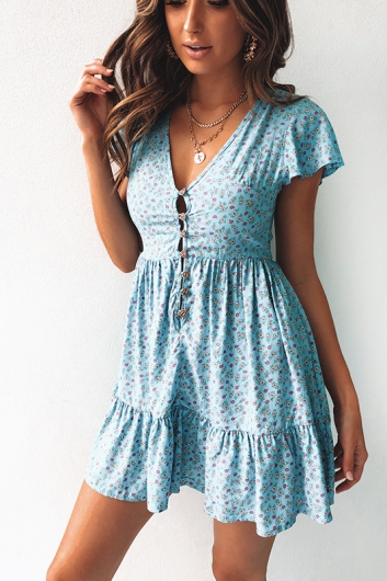 Blissful Days Spring Dress - Blue Daisy
