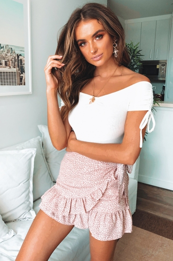 Coconut Cake Skirt - Nude/Red Print