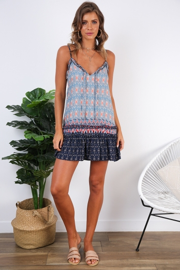 Dreaming Of You Dress - Navy/Blue Print
