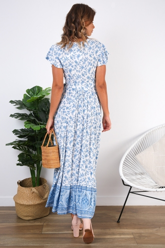 Free As A Bird Dress - White/Blue Print