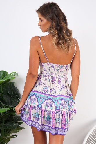 Savannah Dress - Nude/Purple Print