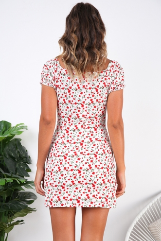 Doll Face Dress- White/Red Print