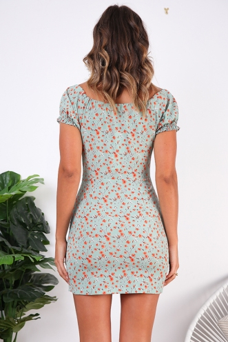 Doll Face Dress- Mint/Orange Print