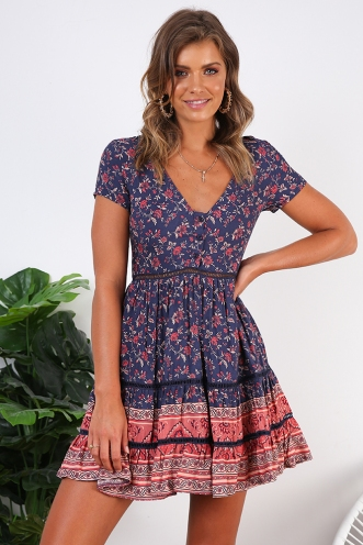 Sunflower Child Dress- Navy/Pink Print