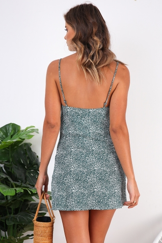 Empty Glasses Dress - Green Print