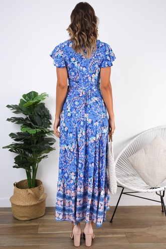 Free As A Bird Dress - Blue Print