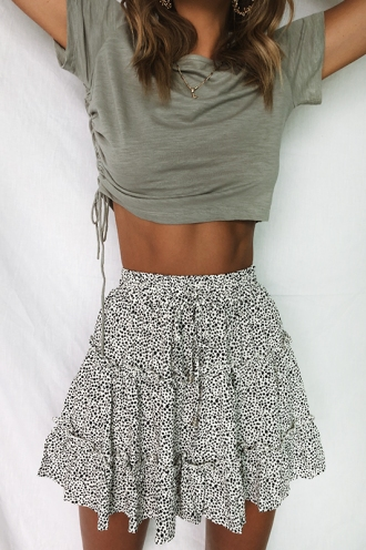 Next To You Skirt - White Print