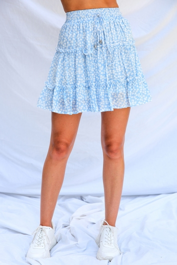 Next To You Skirt - Sky Blue Floral