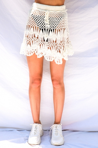 Uluwatu Skirt - White Crochet
