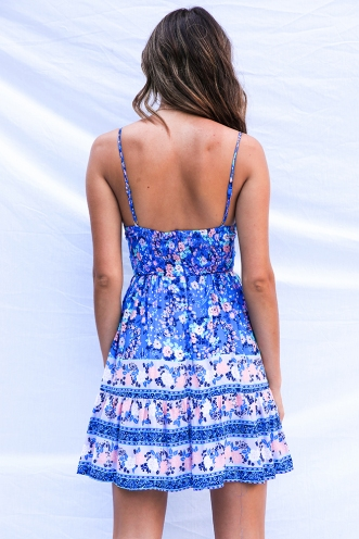 Savannah Dress - Blue Pink Print