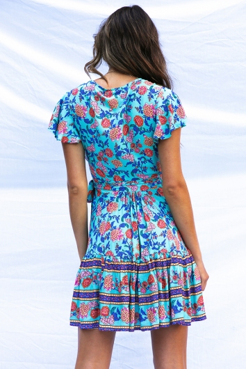 Tess wrap dress - Turquoise Print