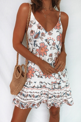 Bobbi Dress - White/Pink Print