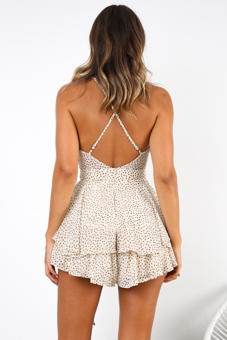 All Figured Out Playsuit - Cream Print