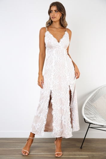 Nora Dress - Beige/White Sequin