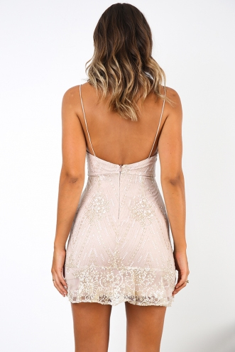 The Kendal Dress - Beige/ Mesh Glitter