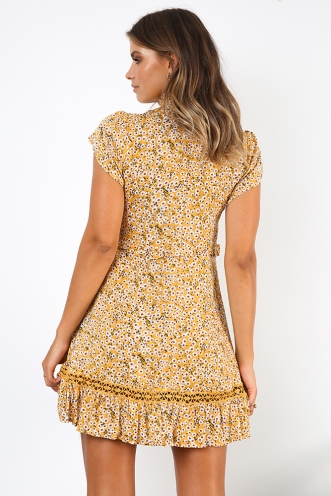 Country Charm Dress - Mustard Floral