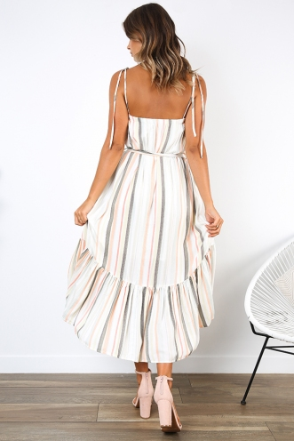Brea Dress - White/Multi Stripe