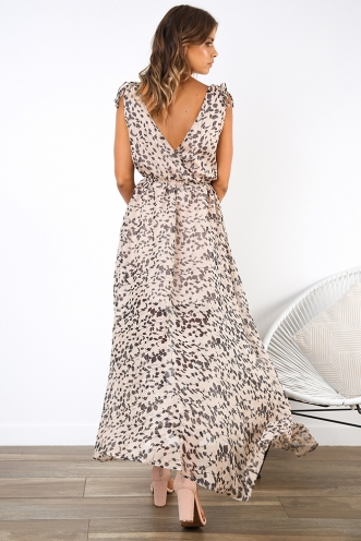 July Dress - Beige Print