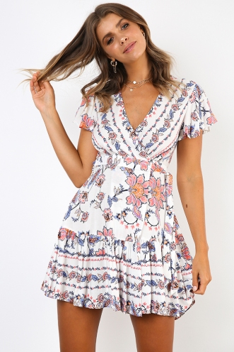 Tess wrap dress - White/pink print