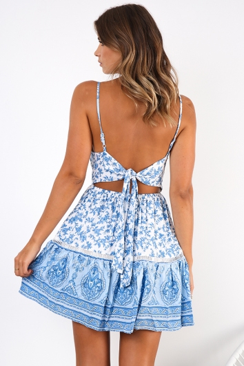 Better Together Dress - Light Blue/White Print