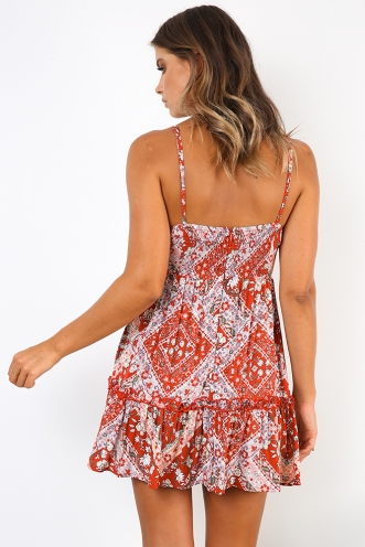 Savannah Dress - Red Floral
