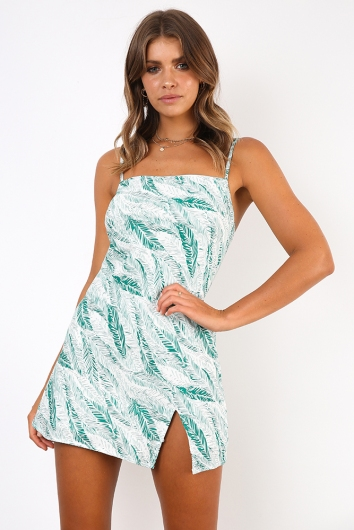 Empty Glasses Dress - Green Leaf