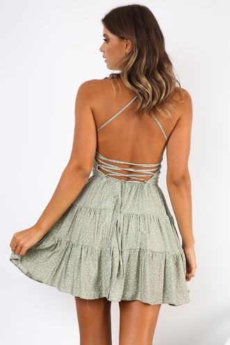 Picnic In Paris Dress - Green/White Dot