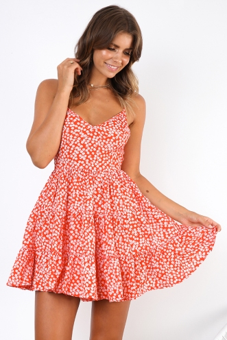 Beach Bummer Dress - Red Print
