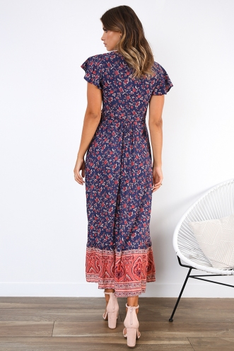 Free As A Bird Dress - Navy/Pink Print