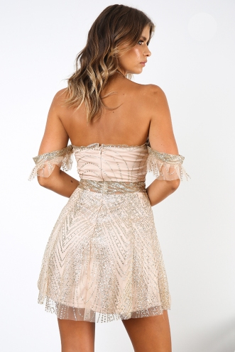 Tainted Love Dress - Champagne/Gold Glitter