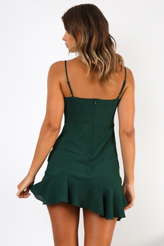Burning Love Dress - Forest Green