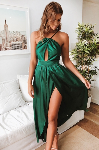 Nikole Maxi Dress - Green Satin