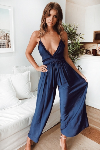 Lost In Japan Jumpsuit - Navy