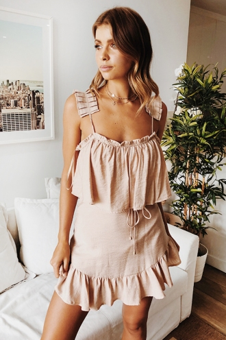 Baby Come Back Dress - Mocha Beige