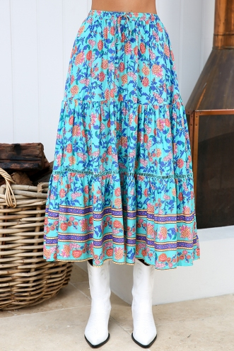 Dream Girl Skirt - Turquoise/orange Print