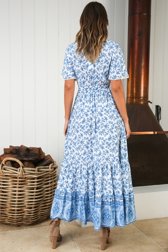 Boho Tribe Dress - White/Blue Print