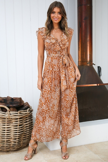 Sweet Talk Jumpsuit - Tan Print