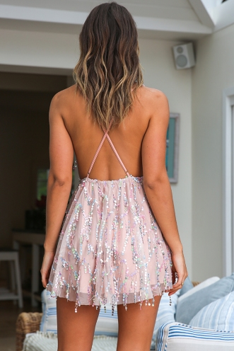 Disco Fever Mini Dress - Multi Blush