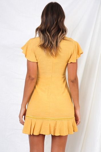 Okay By Me Dress - Mustard
