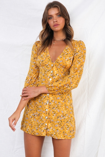 Louisa Dress - Mustard Print