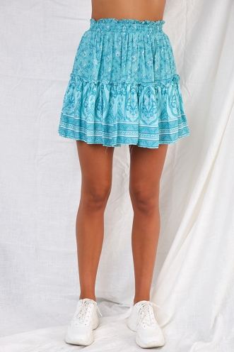 Trouble Skirt - Teal Print
