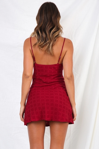 Empty Glasses Dress - Maroon