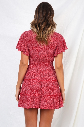 Coastline Dress - Red print