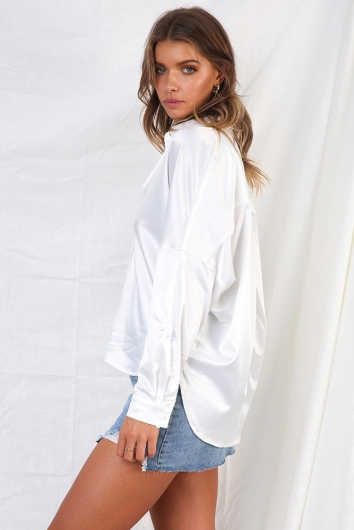 Modern Love Top - White Satin
