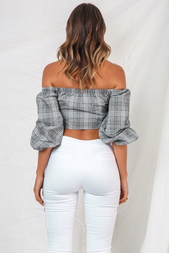 Kladdkaka Top - Black/ White Chequered