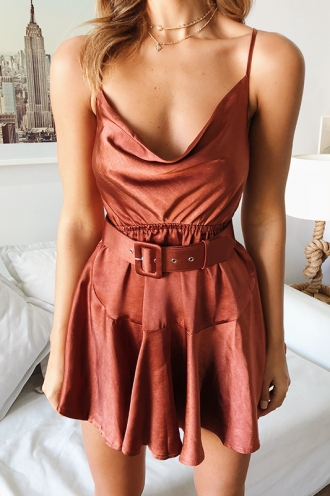 Gabrielle Dress - Brown