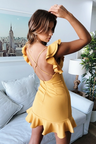 Haylee Mini Dress- Mustard