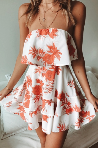 Yasmin Dress - White/Red Floral