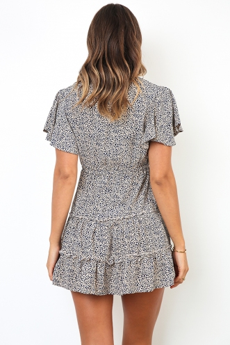 Coastline Dress - Beige Print