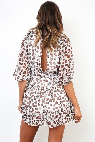 Kiara Dress - White/Brown